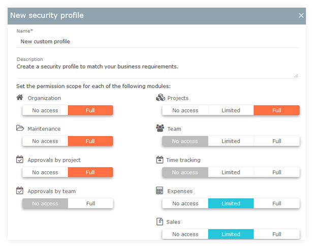 Custom security profile
