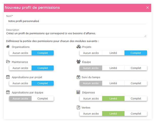 Profils de permissions personnalisés