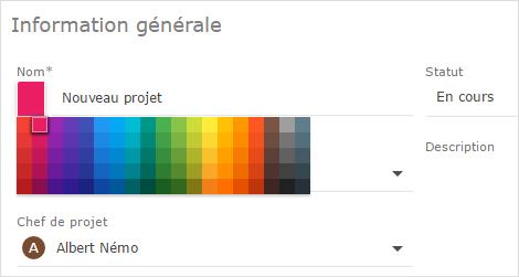 catégorisation des projets par couleur