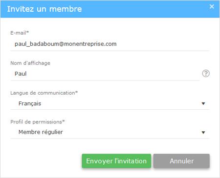 envoyer invitation