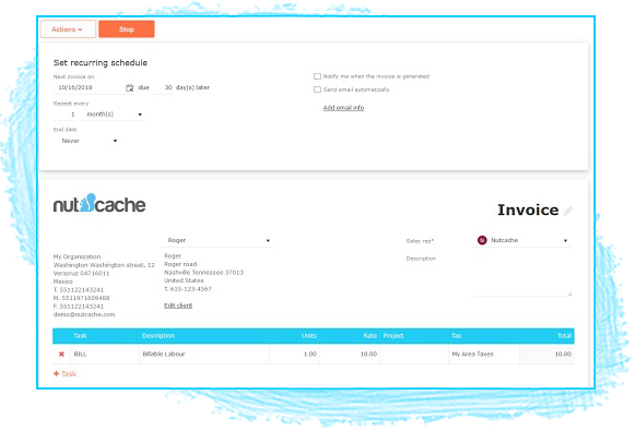 nutcache ercurring invoices