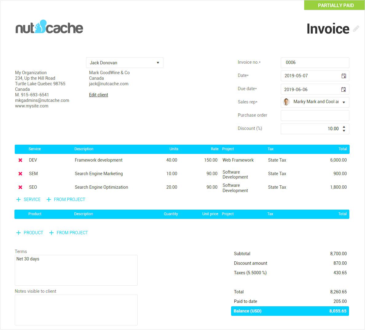 Nutcache invoice