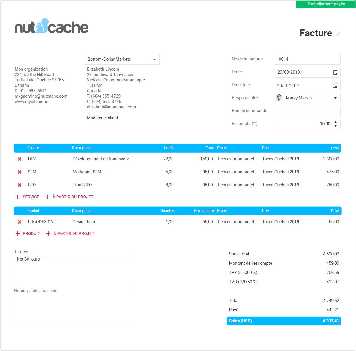 facture nutcache